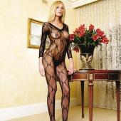 Leg Avenue Bow Lace V Neck Bodystocking